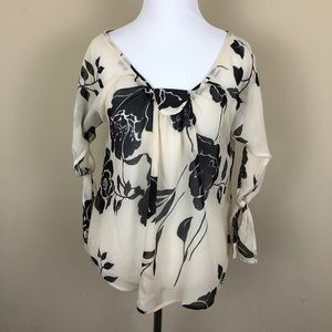 Anthropologie Odille Tie Sleeve Floral Blouse